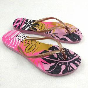 Havaianas Slim Foliage Flip Flops Rose Quartz 9/10